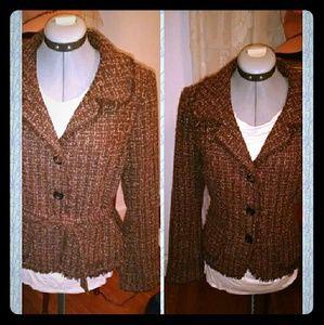 Brown tweed tie-waist blazer